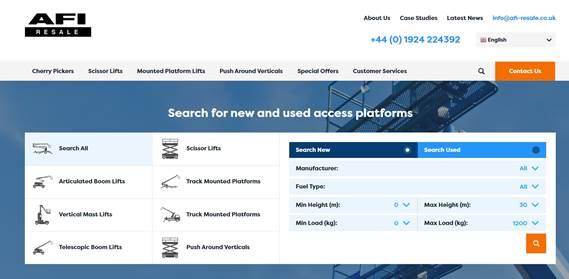 New dynamic website for AFI Resale
