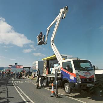 Wilson Access Truck Mount provides close up views of Tour de Yorkshire Cycle Race