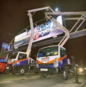 Wilson Access Truck Mounts used to repaint the Trafford Arch Digital Advertising Site in Manchester