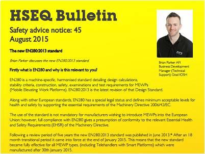 News update - The new EN280:2013 standard