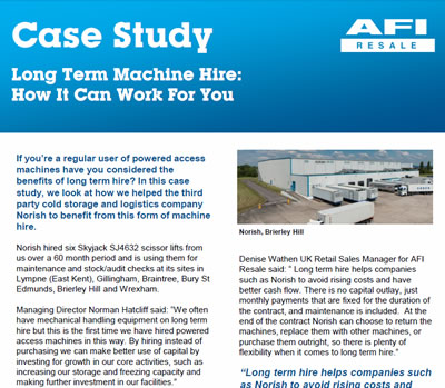 Case Study - Long Term Machine Hire